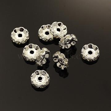 Латунные бусины разделители для поставки стразов, класс А, волнистый край, серебрянный металл, рондель, кристалл, 10x4 мм, отверстие : 2 мм(X-RB-A014-L10mm-01S)