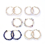 304 Stainless Steel Big Hoop Earrings, with Natural Gemstone Beads, Ring, Golden, 48x5~6mm, Pin: 0.8x1mm
