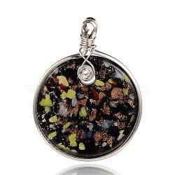 Rond de main feuille verre plat gros pendentifs, avec les accessoires en laiton de tonalité de platine, colorées, 60x47x8mm, Trou: 5mm(PALLOY-J356-11A)
