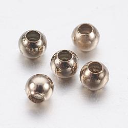 Perles en laiton, rond, café café doré, 2mm, Trou: 0.8mm(KK-K224-08-01G)