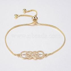 """Bracelets bolo extensibles en laiton avec zircon cubique de micro pavé, Bracelets coulissants, or, 10-5/8"""" (270 mm); 1.2mm(BJEW-H558-30G)"""