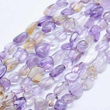 Natural Ametrine Beads Strands, Nuggets, 8x5mm, Hole: 1mm; 15.3inches~15.7inches(39~40cm)(G-K203-09B)