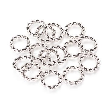 Alloy Linking Rings, Tibetan Style,  Cadmium Free & Nickel Free & Lead Free, Antique Silver, 15x2mm(X-TIBE-4949-AS-NR)