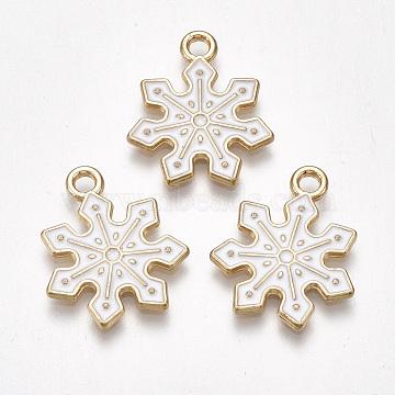 Alloy Pendants, Cadmium Free & Lead Free, with Enamel, Snowflake, Light Gold, White, 21x18x1.5mm, Hole: 2mm(X-ENAM-S115-079)