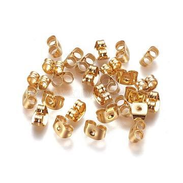 304 Stainless Steel Ear Nuts, Earring Backs, Golden, 6x4.5x3mm, Hole: 0.8~1mm(X-STAS-L222-44G)