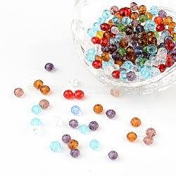 Граненые прозрачные стеклянные бусины rondelle, разноцветные, 4x3 мм, отверстие : 1 мм