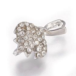 Pendentifs de bails de cheville en laiton strass, pour la moitié de perles percées, platine, 18x10.5x6mm, trou: 3x3.5 mm; broches: 0.8 mm(KK-F773-02P)