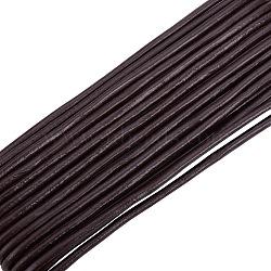 Cordon rond de cuir, cuir de vachette, bricolage bijoux matériau de fabrication de bracelet gainé de cuir, coconutbrown, taille: environ 3 mm d'épaisseur(X-WL-A002-8)