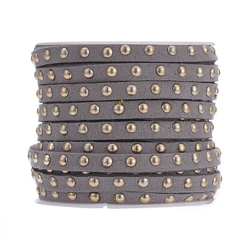 Faux Suede Cord, with Golden Tone Alloy Rivet, For Punk Rock Jewelry Making, Gray, 5x2.5mm, about 5.46 yards(5m)/roll(LW-Q016-5mm-1126)