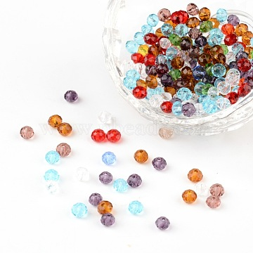 Граненые прозрачные стеклянные бусины rondelle, разноцветные, 4x3 мм, отверстие : 1 мм(GLAA-R152-4mm-M1)