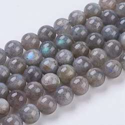 Natural Labradorite Beads Strands,  Round, 8mm, Hole: 1mm