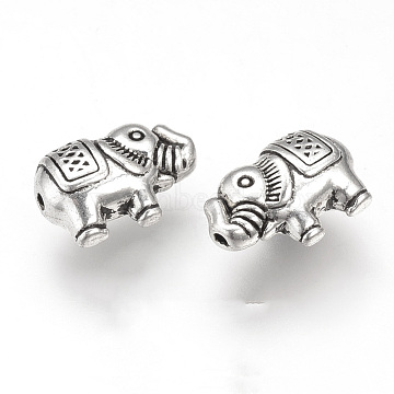 Tibetan Style Alloy Beads, Elephant, Cadmium Free & Lead Free, Antique Silver, 12.5x8x5mm, Hole: 1mm(X-TIBEB-T002-03AS-RS)
