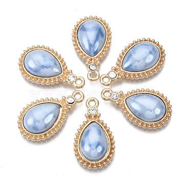 Porcelain Pendants, with Light Gold Plated Brass Findings and Crystal Rhinestone, Teardrop, Cornflower Blue, 24x14x5mm, Hole: 1.8mm(X-KK-N235-040A)