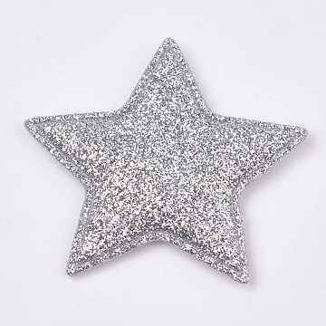 Glitter PU Patches, with Non Woven Fabric Back and Sponge Inside, Star, Light Grey, 51x54~55x4mm(X-FIND-S282-03H)
