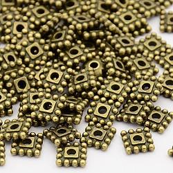 Séparateurs perles en alliage de style tibétain, Sans cadmium & sans nickel & sans plomb, carrée, bronze antique, 7x7x2mm, Trou: 2mm(X-TIBEB-00697-AB-NR)
