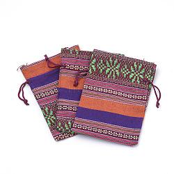 Sacs de sachets d'emballage de coton, sacs à cordonnet, avec cordon en nylon, rectangle, Style ethnique, corail, 13~14x9.8~10 cm(ABAG-S002-01)