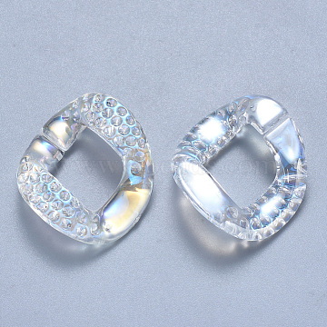 Transparent Acrylic Linking Rings Rhinestone Settings, Quick Link Connectors, AB Color Plated, Twist, Clear AB, Fit for 1.5mm Rhinestone; 29x24.5x7.5mm, Hole: 17x14mm(OACR-S036-009A-D01)
