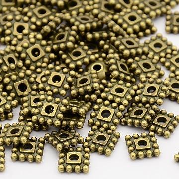 Antique Bronze Square Alloy Spacer Beads