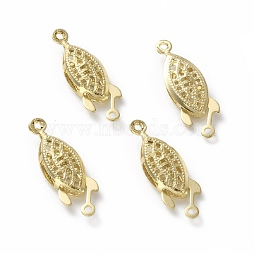Brass Filigree Box Clasps, Long-Lasting Plated, Horse Eye, Real 24K Gold Plated, 22x7x3.5mm, Hole: 1.2mm(KK-L205-07G)