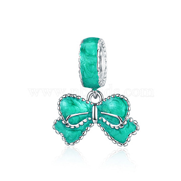 16mm Turquoise Bowknot Sterling Silver Beads
