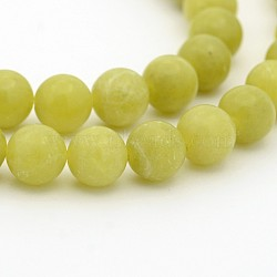 """Péridot naturel chapelets de perles rondes, 6mm, trou: 1mm; environ 68 pcs/chapelet, 15.7""""(G-P070-34-7mm)"""