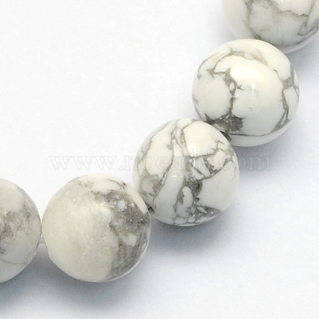 Natural Howlite Round Beads Strands, 6.5mm, Hole: 1mm; about 63pcs/strand, 15.5 inches(X-G-S176-6mm)