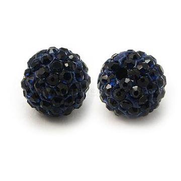 Perles de strass en argile polymère, Perles de boule pavé disco , Grade a, rond, pp 15, montana, 10mm, Trou: 1.8~2mm(X-RB-C1438-10mm-A16)