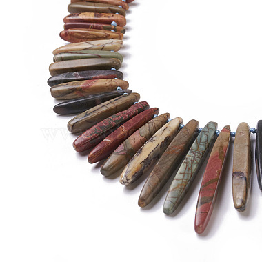 Natural Picture Jasper Graduated Beaded Necklaces(BJEW-L171-01B)-2