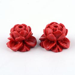 Perles de lotus de cinabre, firebrick, 9x13.5x13.5mm, Trou: 2mm(CARL-Q004-75)