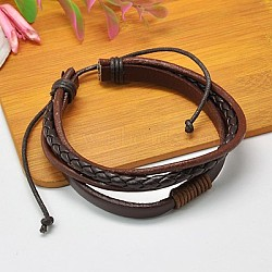 Multi-strand Leather Cord Bracelets, with Waxed Cotton Cord, CoconutBrown, 54mm(BJEW-A063-01)