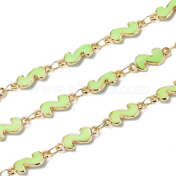 Handmade Alloy Enamel S Shape Link Chains, with Spool, Soldered, Long-Lasting Plated, Lead Free & Cadmium Free, Golden, Light Green, 13x5x2mm(ENAM-F138-05B-RS)