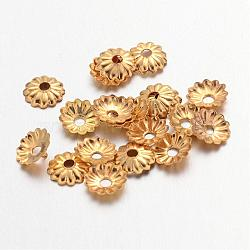 Золотой железа цветок крышки шарика,, 5x1.5 мм, Отверстие : 1 мм ; около 330 шт / 10 г(X-IFIN-D023-G)
