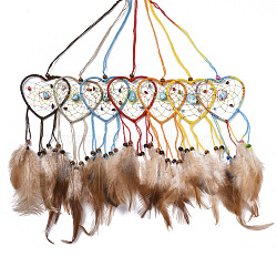 Chicken Feather Handmade Woven Net/Web with Feather Big Pendants, with Natural Wood Beads, Natural & Synthetic Gemstone, Cotton and Waxed Cord, Heart, Mixed Color, 200~270x68x3~7mm(AJEW-S080-005)