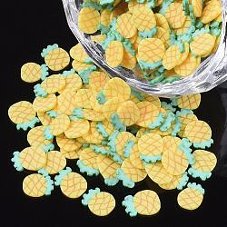 main en pate polymère cabochons, ananas, or, 6~7x4~5x0.5 mm; environ 3571 pcs / 50 g(X-CLAY-S091-043A)