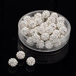 Perles de boule pavé disco , Perles de strass en argile polymère, Grade a, cristal, 6mm, Trou: 1mm(RB-Q195-6mm-001)