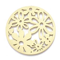 gros pendentifs en aluminium, laser coupé gros pendentifs, plat et circulaire avec fleur, or, 50x1 mm, trou: 3 mm(X-ALUM-T001-29G)