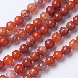 Natural Agate Beads Strands, Dyed & Heated, Grade A, Round, Chocolate, 8~8.5mm, Hole: 1.2mm; about 48pcs/strand, 15.1''(38.5cm)