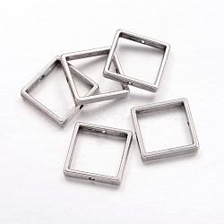 Cadres du perle en alliage, carrée, sans plomb et sans cadmium, argent antique, longueur d'environ 17 mm ,  largeur de 17 mm, épaisseur de 3mm, Trou: 1mm(X-EA566Y)