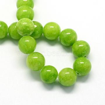 8mm GreenYellow Round Yellow Jade Beads