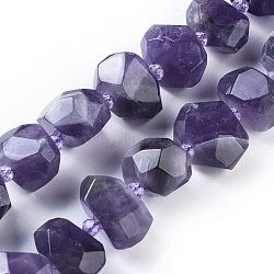 Natural Amethyst Beads Strands, Faceted, Nuggets, 12~16x17~19x11~17mm, Hole: 1.6mm; about 24pcs/strand, 15''(38.2cm)