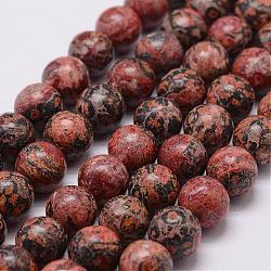 """Chapelets de perles de jaspe en peau de léopard naturel, rond, 10mm, trou: 1.2 mm; 40 perle / Chapelet, 15.7""""(G-N0181-01-10mm)"""