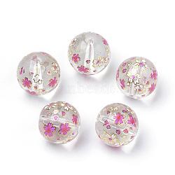 Perles en verre imprimées, ronde avec motif de fleurs, clair, 11~12x11mm, Trou: 1.5mm(X-GFB-Q001-12mm-E01)