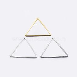 Anneaux connecteurs en laiton, plaqué, triangle, couleur mixte, 23.5x27x0.8mm, diamètre intérieur: 22x24 mm(KK-K197-C-59)