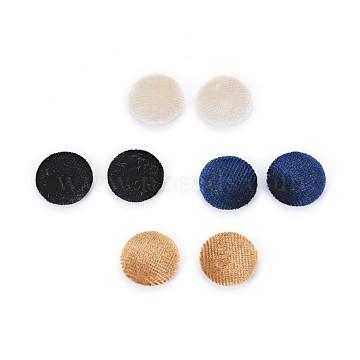 Velvet Cloth Fabric Covered Cabochons, with Aluminum Bottom, Half Round/Dome, Platinum, Mixed Color, 15x5.5mm, 10pcs/color, 40pcs/set(WOVE-X0001-22)