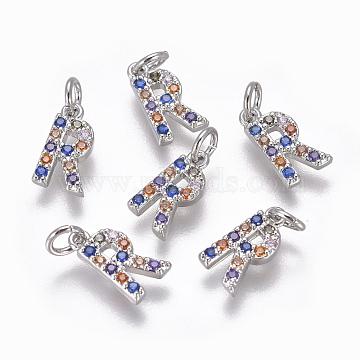 Platinum Colorful Alphabet Brass+Cubic Zirconia Charms