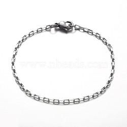 Bracelets à chaînes en 316 acier inoxydable, avec 304 acier inoxydable fermoir pince de homard, couleur inoxydable, 190mm(X-BJEW-JB01865)