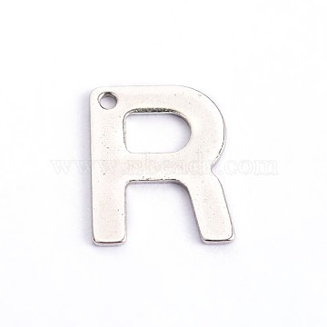 304 Stainless Steel Letter Charms, Letter.R, 11x9x0.8mm, Hole: 1mm(X-STAS-O072-R)
