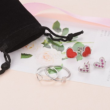 Valentine's Day Jewelry Sets, with Brass Finger Rings, Brass Micro Pave Cubic Zirconia Stud Earrings and Brass Enamel Stud Earrings, Heart, Platinum(SJEW-X0010-01P)