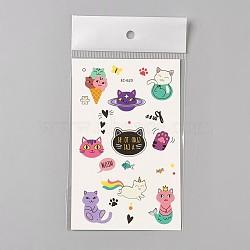 tatouages temporaires faux chaton amovible, imperméable, autocollants papier de dessin animé, cat, coloré, 120~121.5x75 mm(AJEW-WH0061-B09)