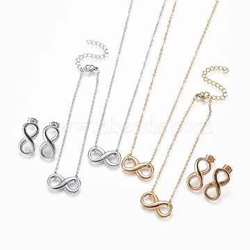 304 Stainless Steel Jewelry Sets, Bracelets, Necklaces and Earrings, Infinity, Golden & Stainless Steel Color, 18.6 inches(47.3cm); 1mm; 7 inches(17.7cm); 1mm; 20.5x11x2.5mm; Pin: 0.9mm(SJEW-F204-19)